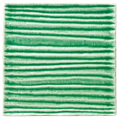 56204-830 和流 23cmスクエアプレート(織部流し)|業務用食器カタログ陶里30号