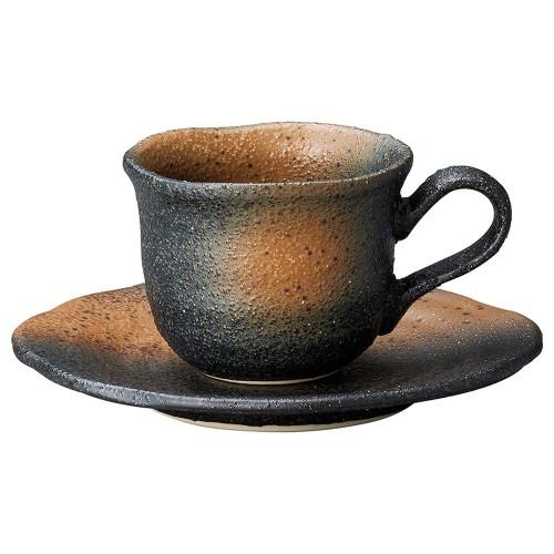 60105-220 黒備前吹き フリルコーヒー碗皿|業務用食器カタログ陶里30号