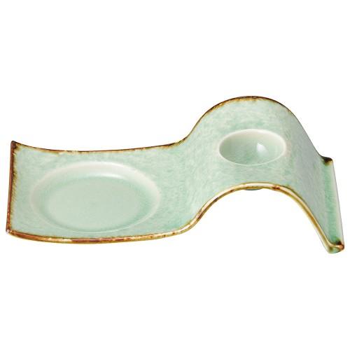 61929-150 ビードロ灰釉渕錆 エッグスタンド|業務用食器カタログ陶里30号