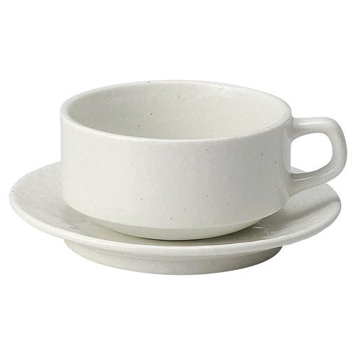 74541-050 白粉引(黒い斑点) スタックスープ碗と受皿 業務用食器カタログ陶里30号