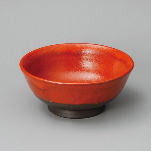 84818-080 赤袖子6.5反高台丼|業務用食器カタログ陶里30号