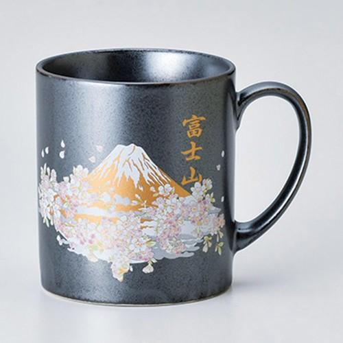 85804-380 80mmマグ鉄結晶 富士山桜 GOLD|業務用食器カタログ陶里30号