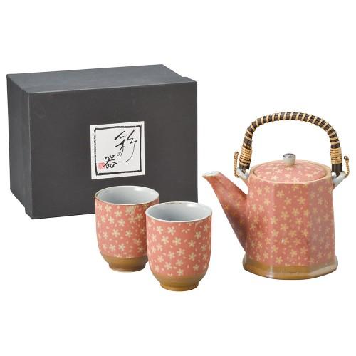 87003-070 花ちりめんビスク(赤)八角土瓶茶器1:2|業務用食器カタログ陶里30号