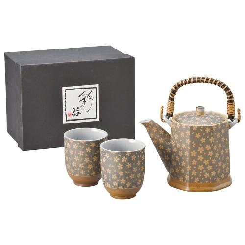 87004-070 花ちりめんビスク(黒)八角土瓶茶器1:2|業務用食器カタログ陶里30号
