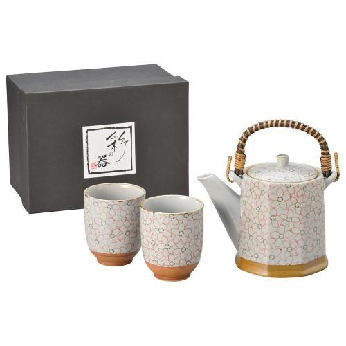 87005-070 こぼれ桜(赤)八角土瓶茶器1:2|業務用食器カタログ陶里30号