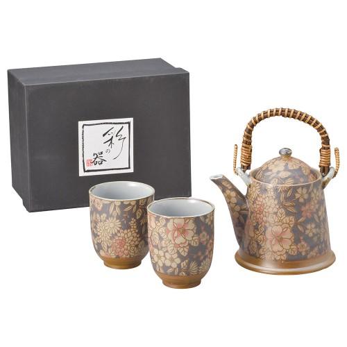 87007-070 華友禅(黒)ビスクA型土瓶茶器1:2|業務用食器カタログ陶里30号