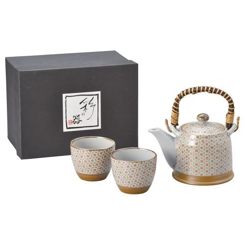 87010-070 月小紋(赤・茶)S土瓶茶器1:2|業務用食器カタログ陶里30号