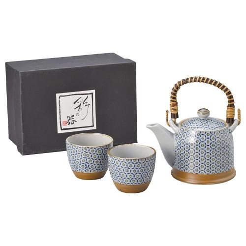 87011-070 月小紋(青・黄)S土瓶茶器1:2|業務用食器カタログ陶里30号