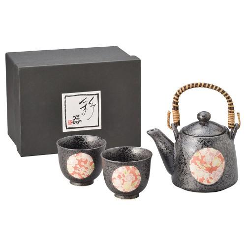87013-070 黒釉桜友禅スリム土瓶茶器1:2|業務用食器カタログ陶里30号