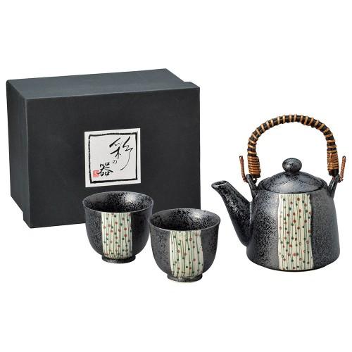 87014-070 黒釉玉すだれスリム土瓶茶器1:2|業務用食器カタログ陶里30号