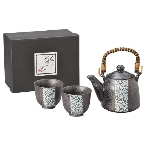 87015-070 黒釉江戸唐草スリム土瓶茶器1:2|業務用食器カタログ陶里30号