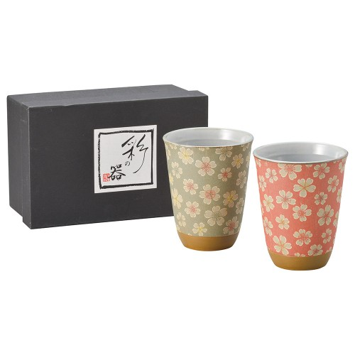 87102-070 お花見ビスクフリーカップ・ペアー|業務用食器カタログ陶里30号