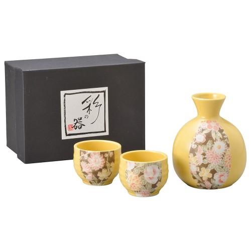 87105-070 黄釉華友禅酒器揃 1;2|業務用食器カタログ陶里30号