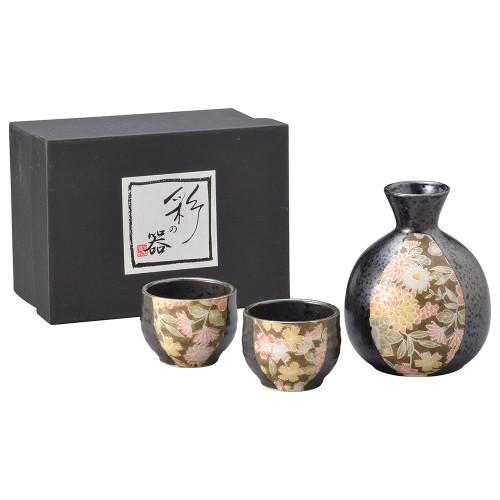 87106-070 黒釉華友禅酒器揃 1:2|業務用食器カタログ陶里30号
