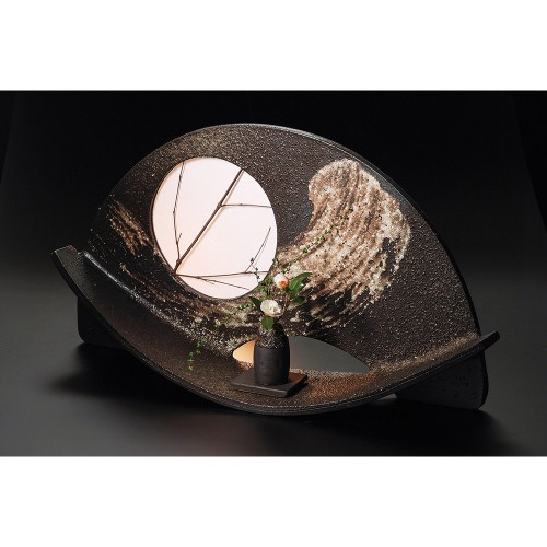 87702-430 刷毛目扇形花器(大)照明具付 業務用食器カタログ陶里30号