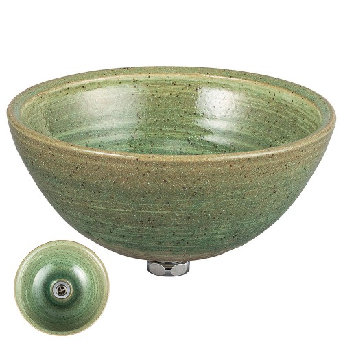 87712-430 緑釉うずしお手洗鉢 業務用食器カタログ陶里30号
