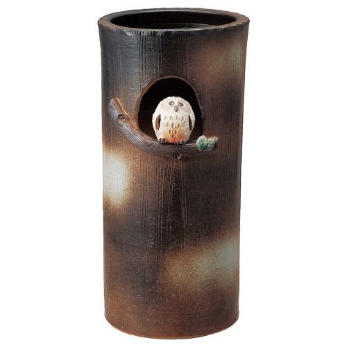 87813-430 まんまるふくろう傘立 業務用食器カタログ陶里30号