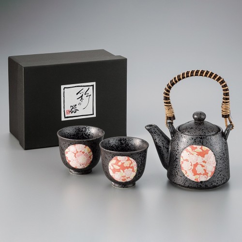 83608-079 Japan茶器黒釉桜友禅スリム土瓶茶器1:2|業務用食器カタログ陶里29号